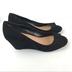 Torrid   Peep Toe Black Mini Suede Wedge Heels 12W